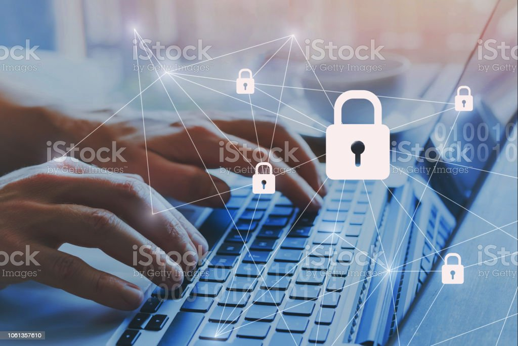 Internet security and data protection concept, blockchain. stock photo