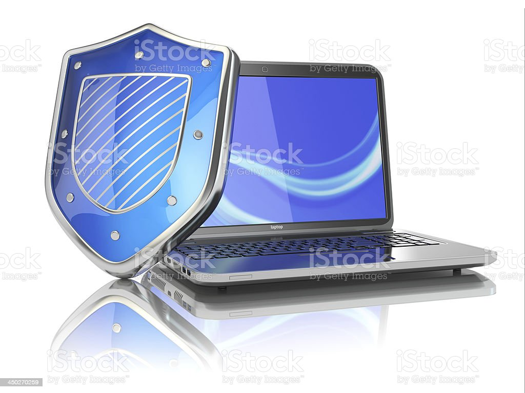 Internet security concept. Laptop and shield. stock photo