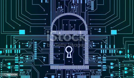 istock Internet security cyber concept pcb lock futuristic lines background 1128536494
