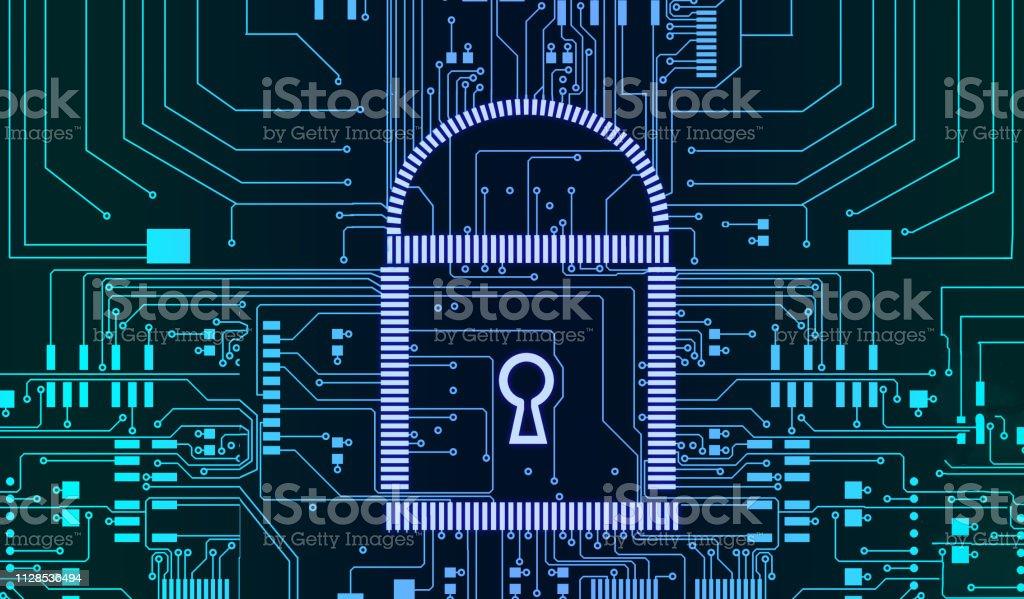 Fond de lignes futuristes Internet sécurité cyber concept pcb serrure - Photo