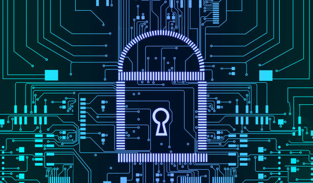 internet security cyber concept pcb lock futuristic lines background - privacy policy stock photos and pictures