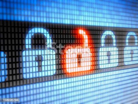 istock LED internet security lock and unlock symbols 158695294