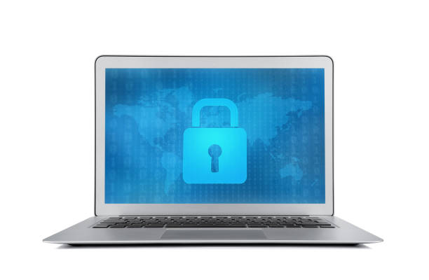 Internet security lock at the modern laptop monitor stock photo
