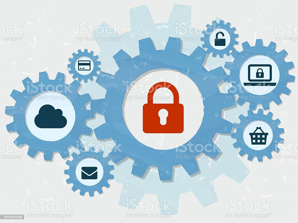 internet security, padlock and technology signs in gears infographic stock photo