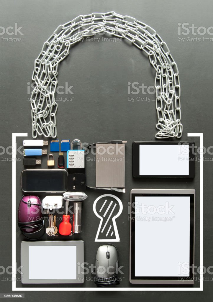 Internet security, padlock icon made from devices stock photo