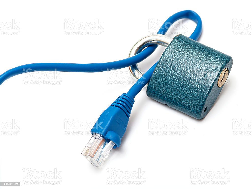 Internet Security Ethernet cable with a padlock symbolising internet security. Blue Stock Photo