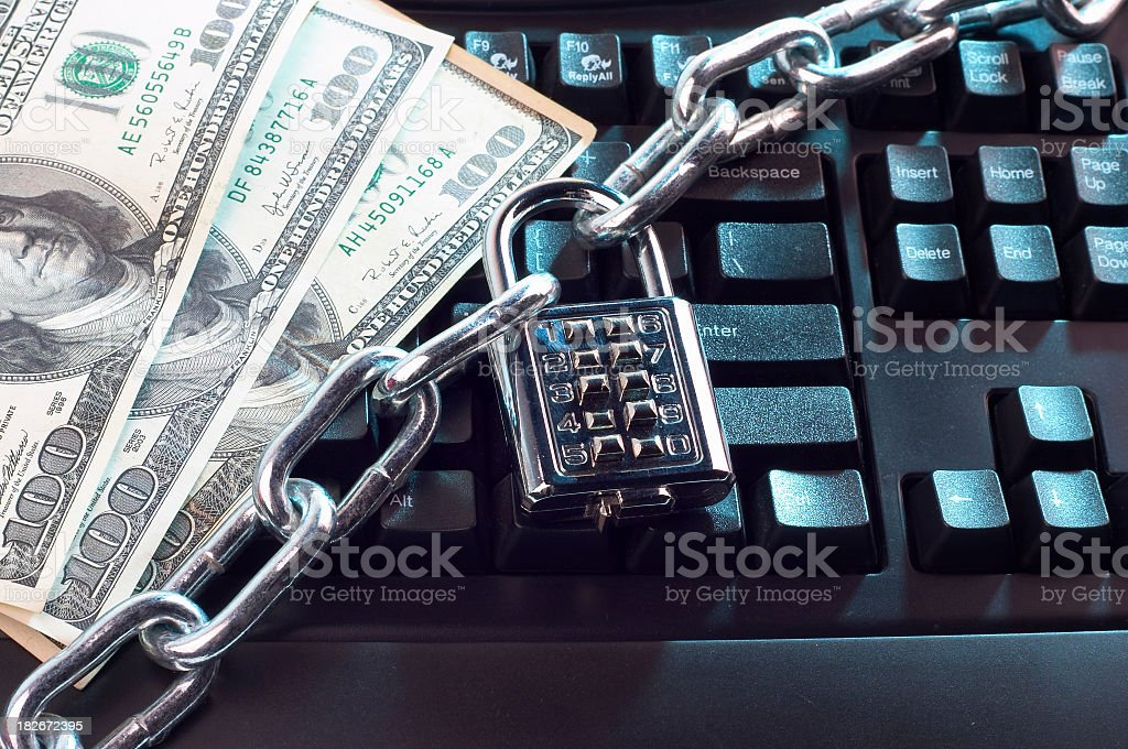 Internet security with money and a keyboard royalty-free stock photo
