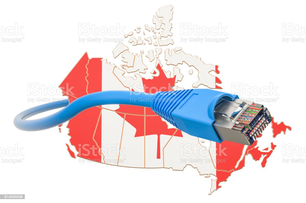Internet service provider in Canada concept, 3D rendering isolated on white background stock photo