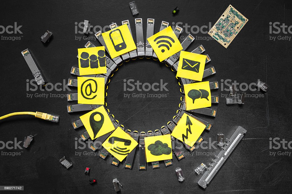 Internet SFP network modules for comminication stock photo