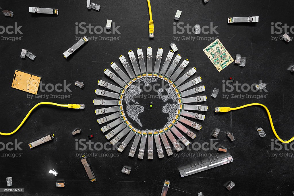 Internet SFP network modules, network switch, RJ45 ethernet cables, connectors stock photo