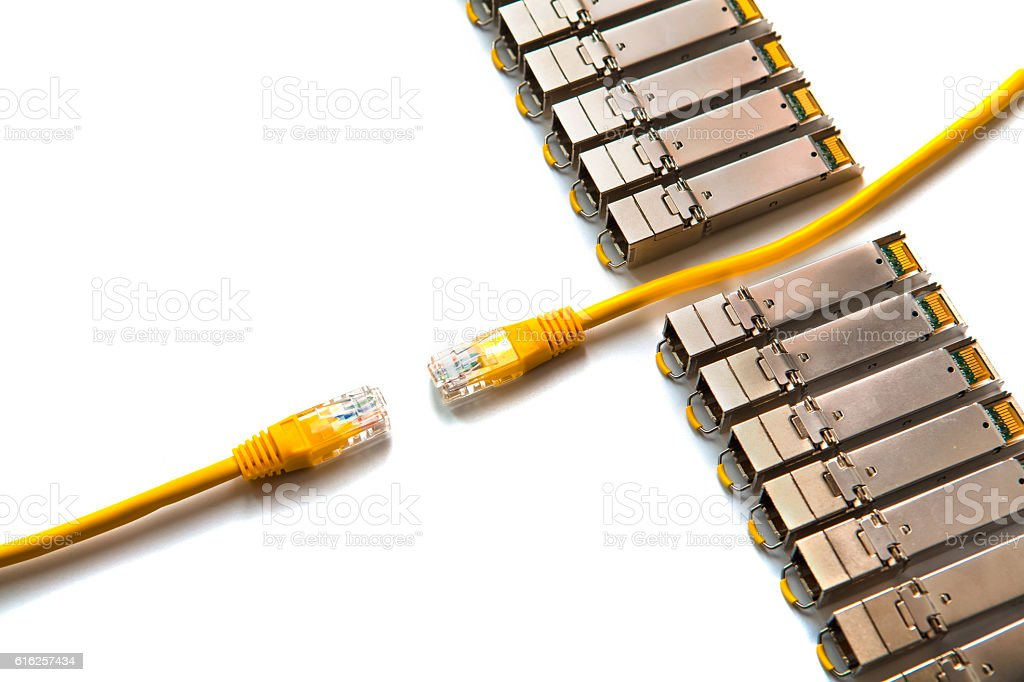 Internet SFP (Small Form-factor Pluggable) network modules stock photo