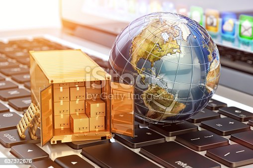 istock Internet shopping and e-commerce, package delivery concept 637372676