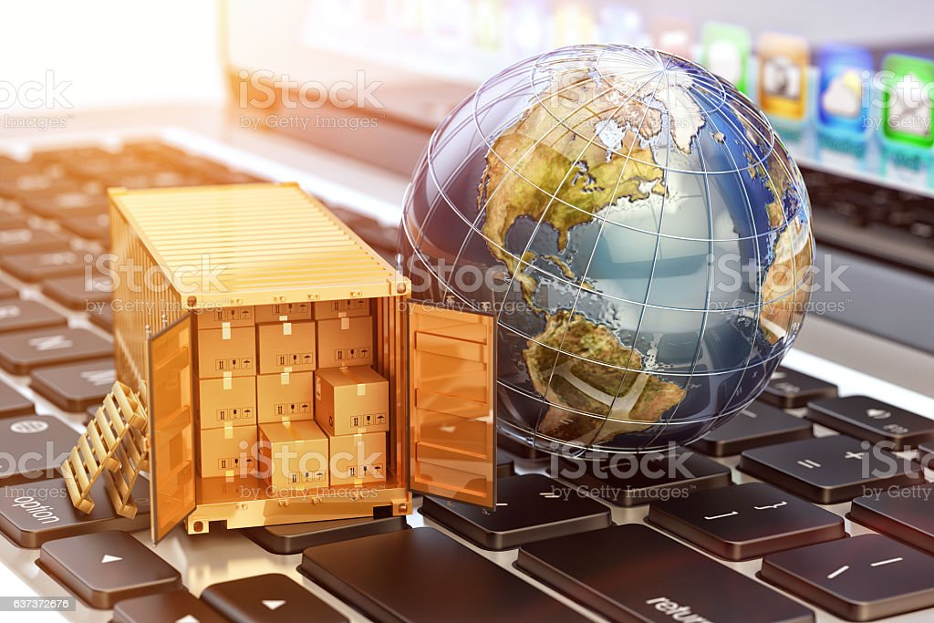 Internet shopping and e-commerce, package delivery concept - foto de stock