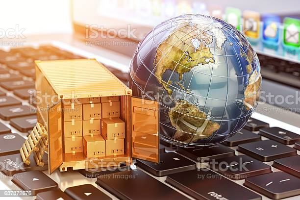 Internet Shopping And Ecommerce Package Delivery Concept Stock Photo - Download Image Now
