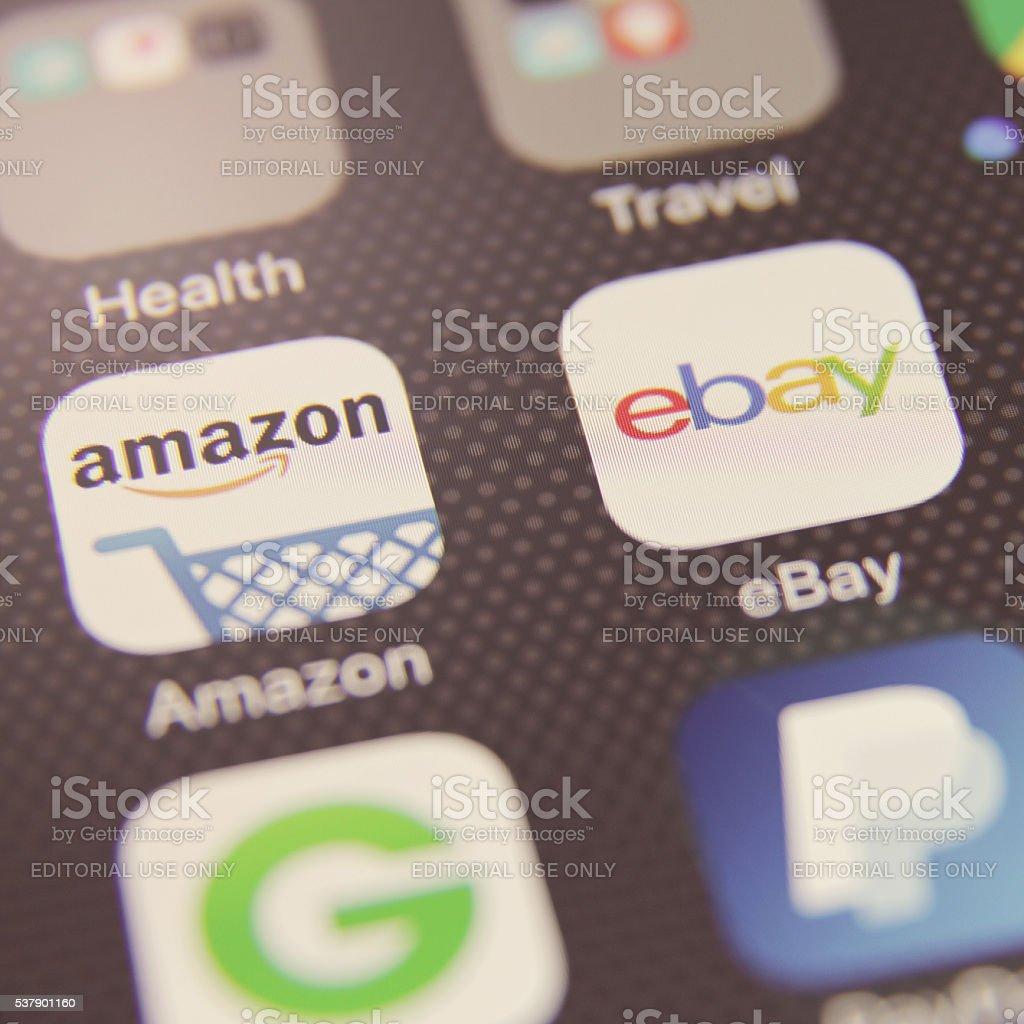 Internet shopping e-commerce application stock photo
