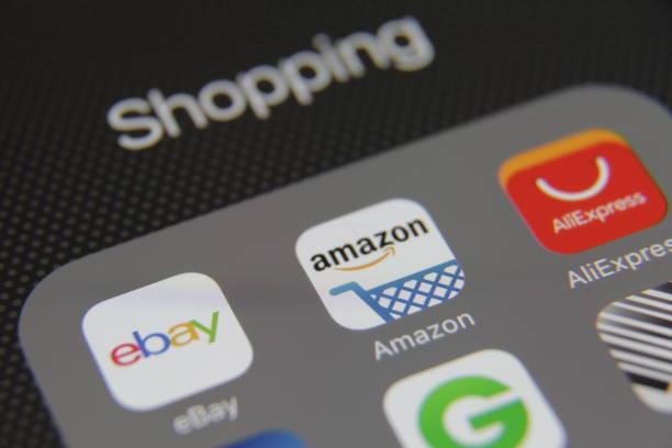 internet shopping e-commerce application - paypal foto e immagini stock