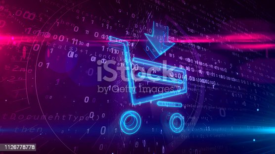 istock Internet shopping icon with cart 1126778778