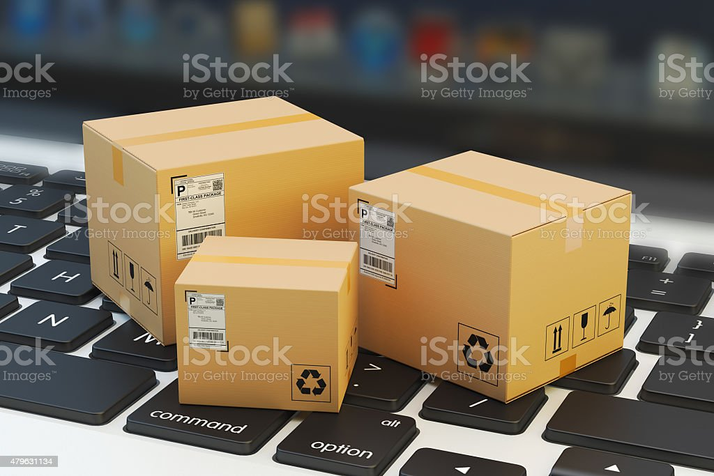 Internet shopping, online purchase, e-commerce and packages delivery concept stock photo