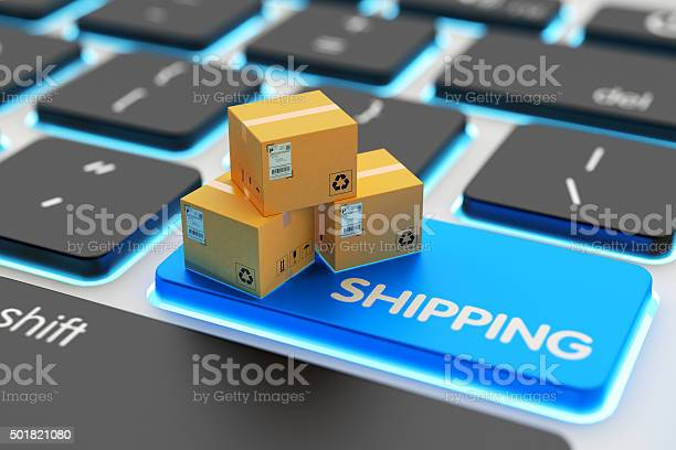 Internet Shopping Online Purchases Packages Delivery And Shipping Service Concept Stock Photo - Download Image Now