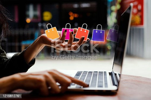 istock Internet shopping with laptop 1215812761