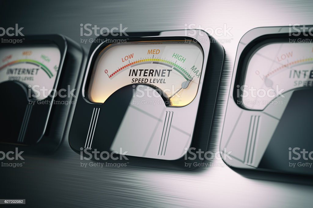 Internet speed level test concept. Maximum position. stock photo