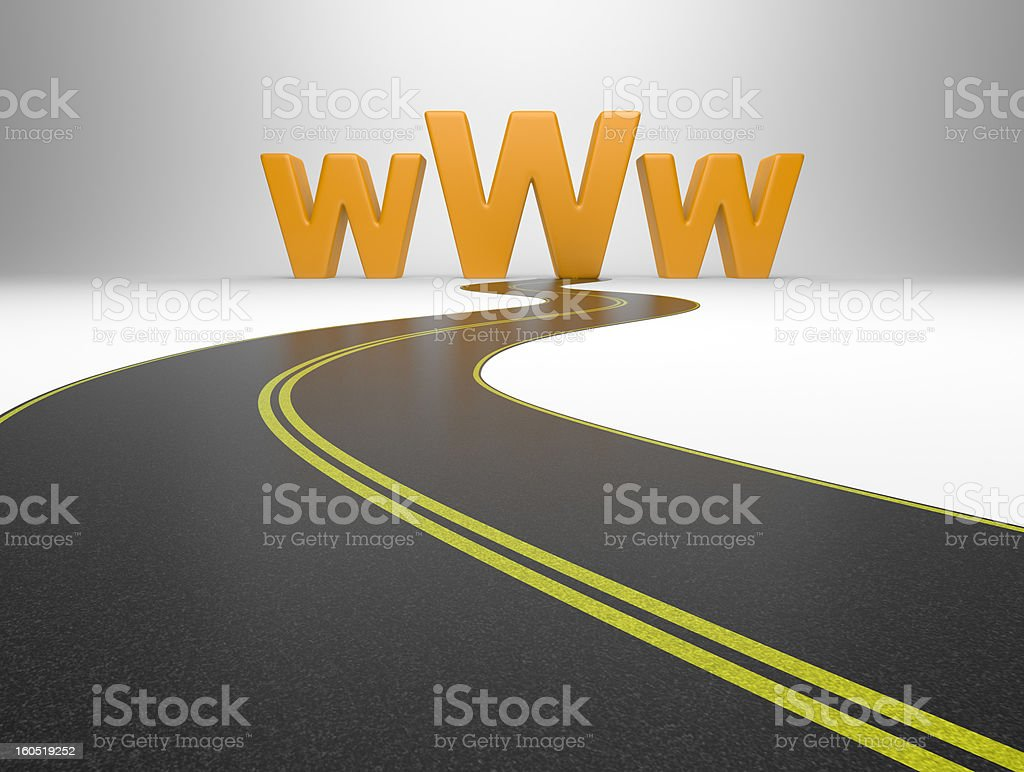 Internet symbol www and a long road royalty-free stock photo