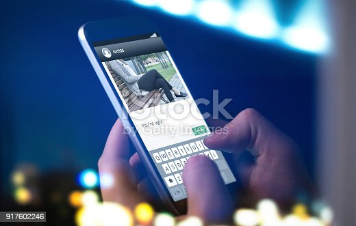 992209122istockphoto Internet trolling and cyber bullying concept. Person sending mean comment to picture on an imaginary online social media website. 917602246