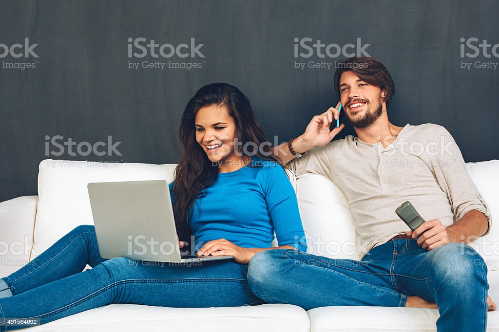 Internet TV and phone stock photo