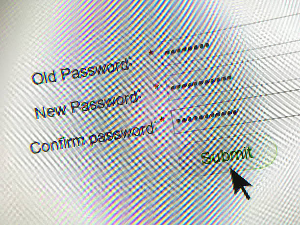 Internet website password change stock photo
