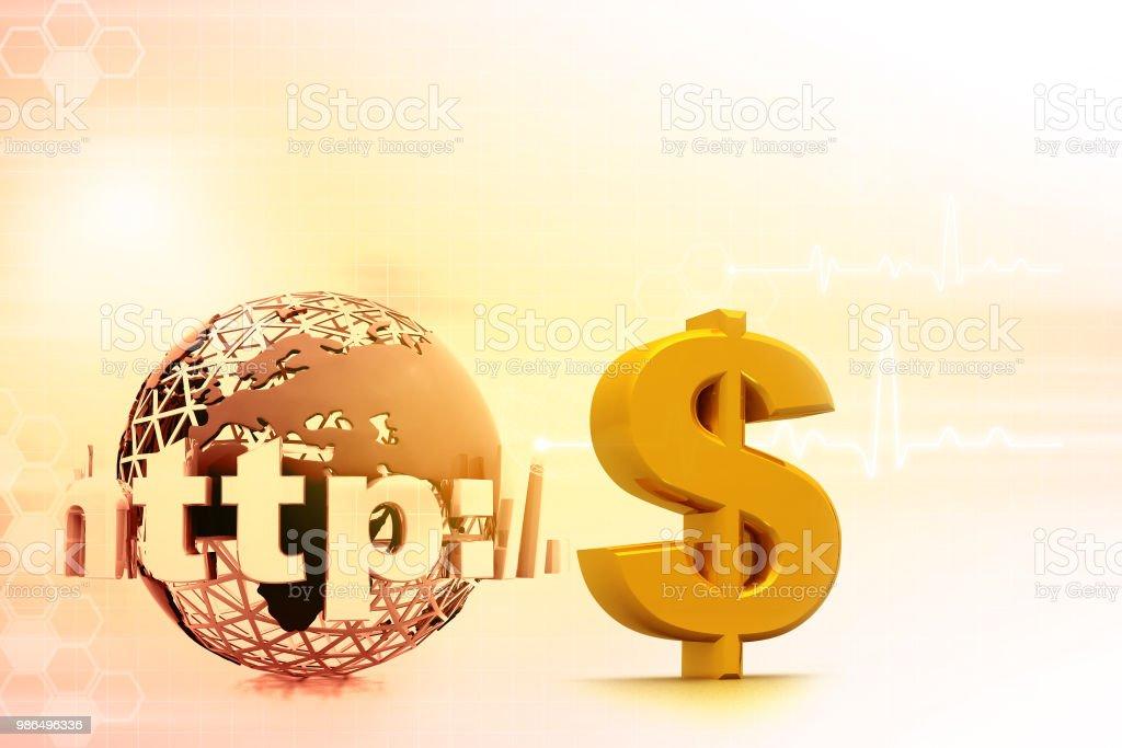 Internet with US dollar symbol stock photo