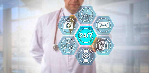Internet-Savvy Physician Activating 24/7 Service stock photo
