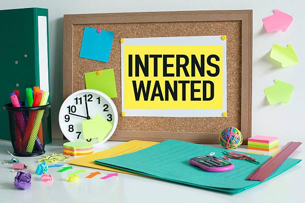 Interns wanted internship concept stock photo