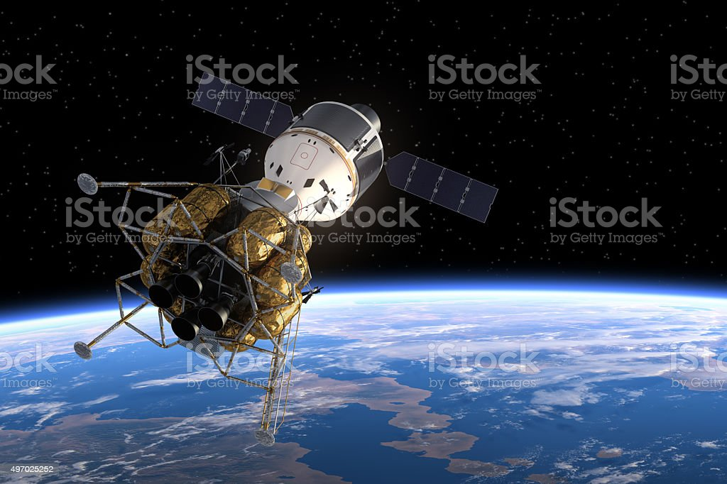 Interplanetary Space Station In Space stock photo