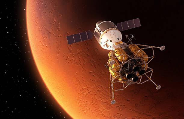 stazione spaziale interplanetary orbiting rosso pianeta - esplorazione spaziale foto e immagini stock