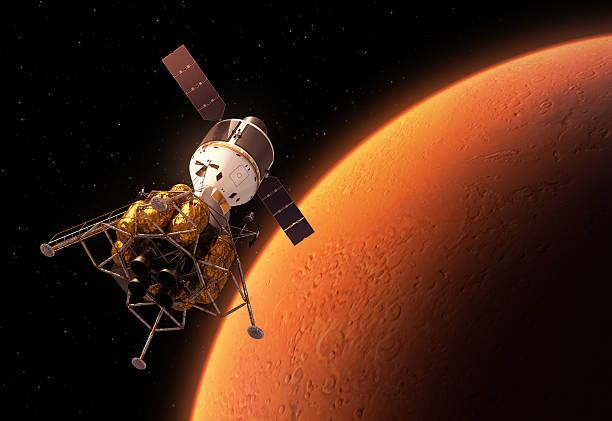 interplanetary space station roten planeten umkreisen - mondlandefähre stock-fotos und bilder