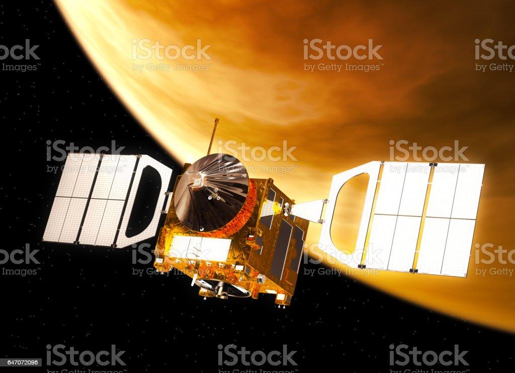 Interplanetary Space Station Orbiting Venus stock photo