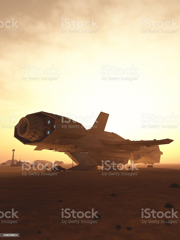 Interplanetary Spaceship Unloading on a Desert Planet stock photo