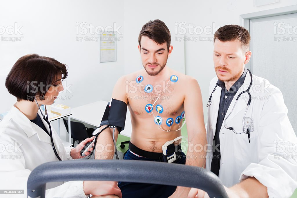 interpretation of the electrocardiogram of young athlete stock photo