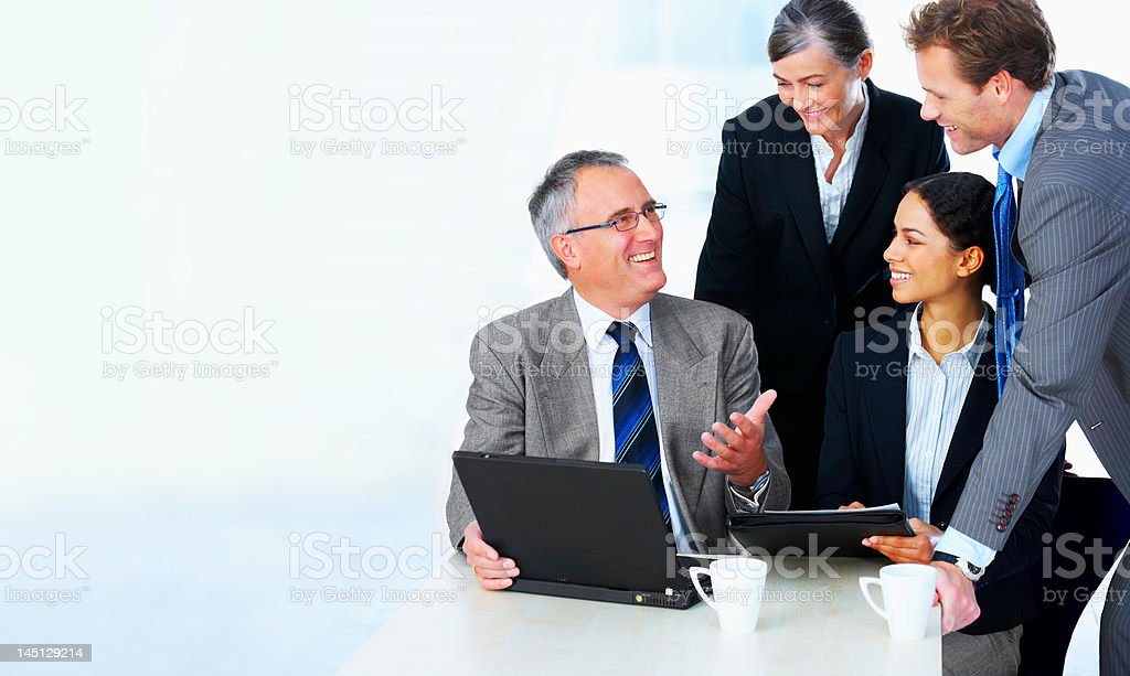 Interracial business group in a meeting royalty-free stock photo
