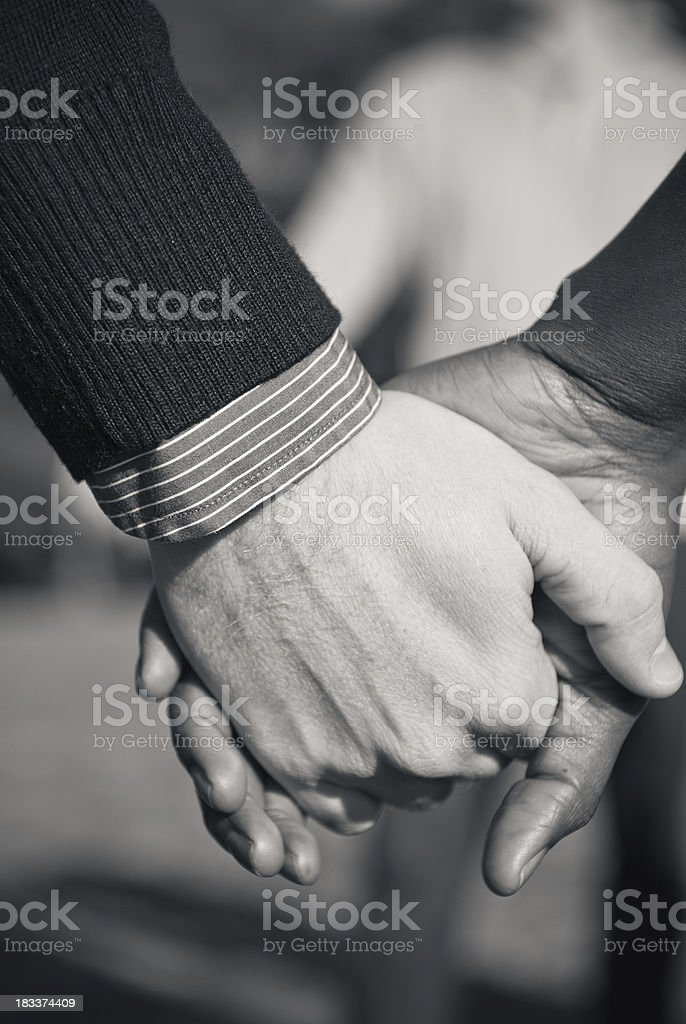 Interracial couple in love - monochrome royalty-free stock photo