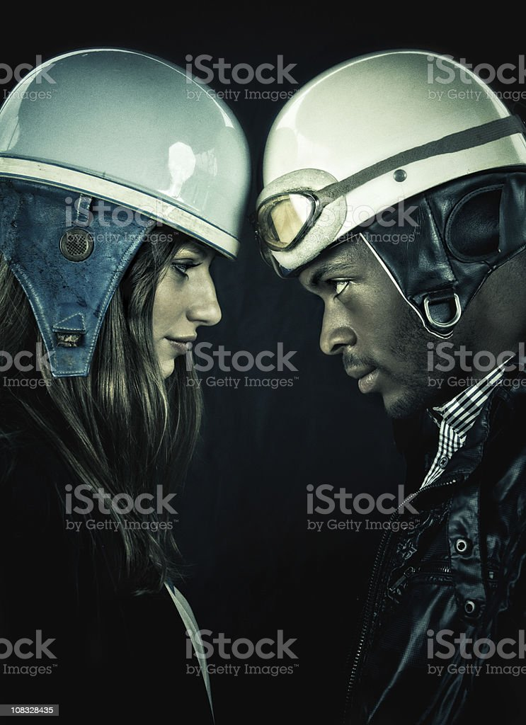 interracial couple looking at each other royalty-free stock photo