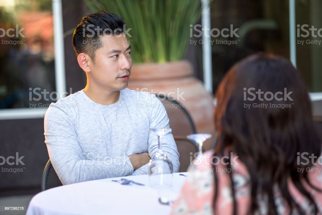 Interracial Date with Asian Man stock photo