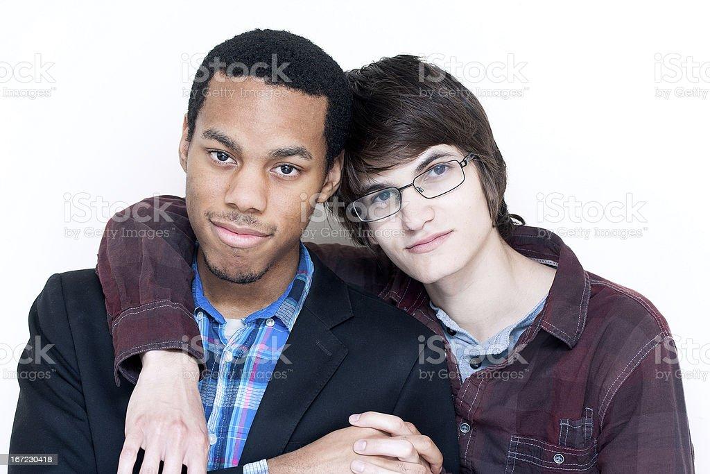 Interracial Gay Couple stock photo