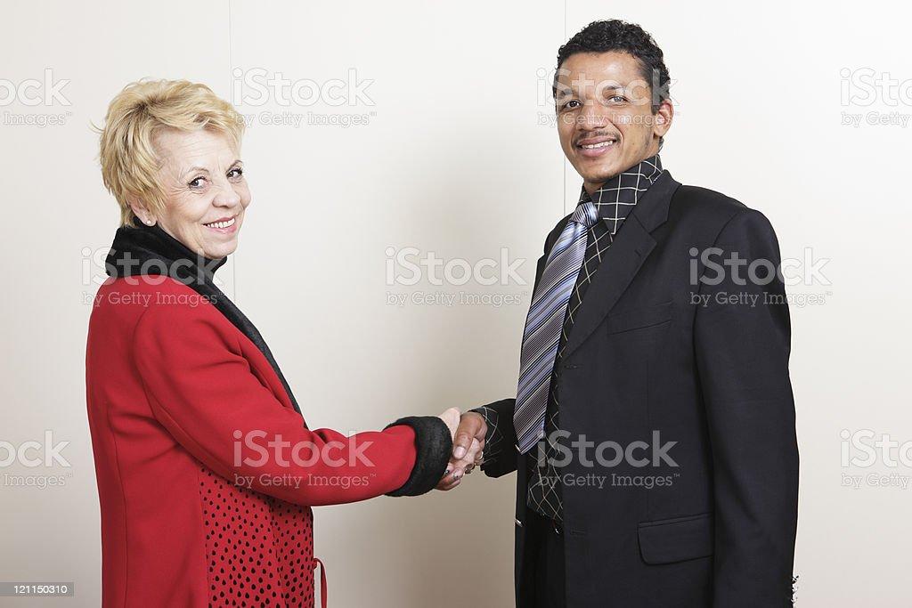 Interracial handshake stock photo