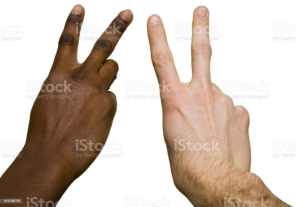 Interracial peace sign royalty-free stock photo