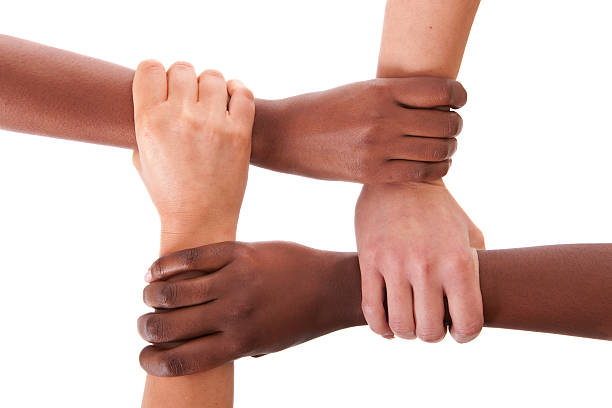 Interracial support People from different races,, holding hands,, isolated on white,, nonrecognizable people,, hands and arms only four people stock pictures, royalty-free photos & images