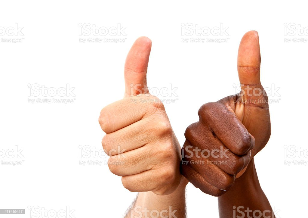 Interracial thumbs-up royalty-free stock photo