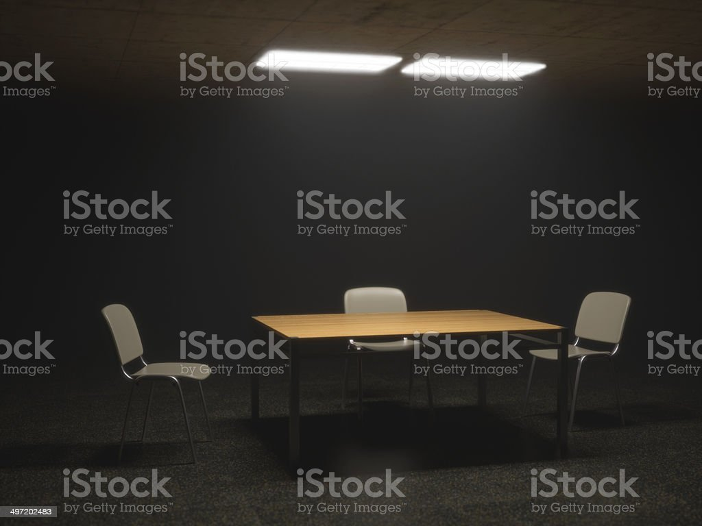 Interrogation Room with Chairs and Table stock photo