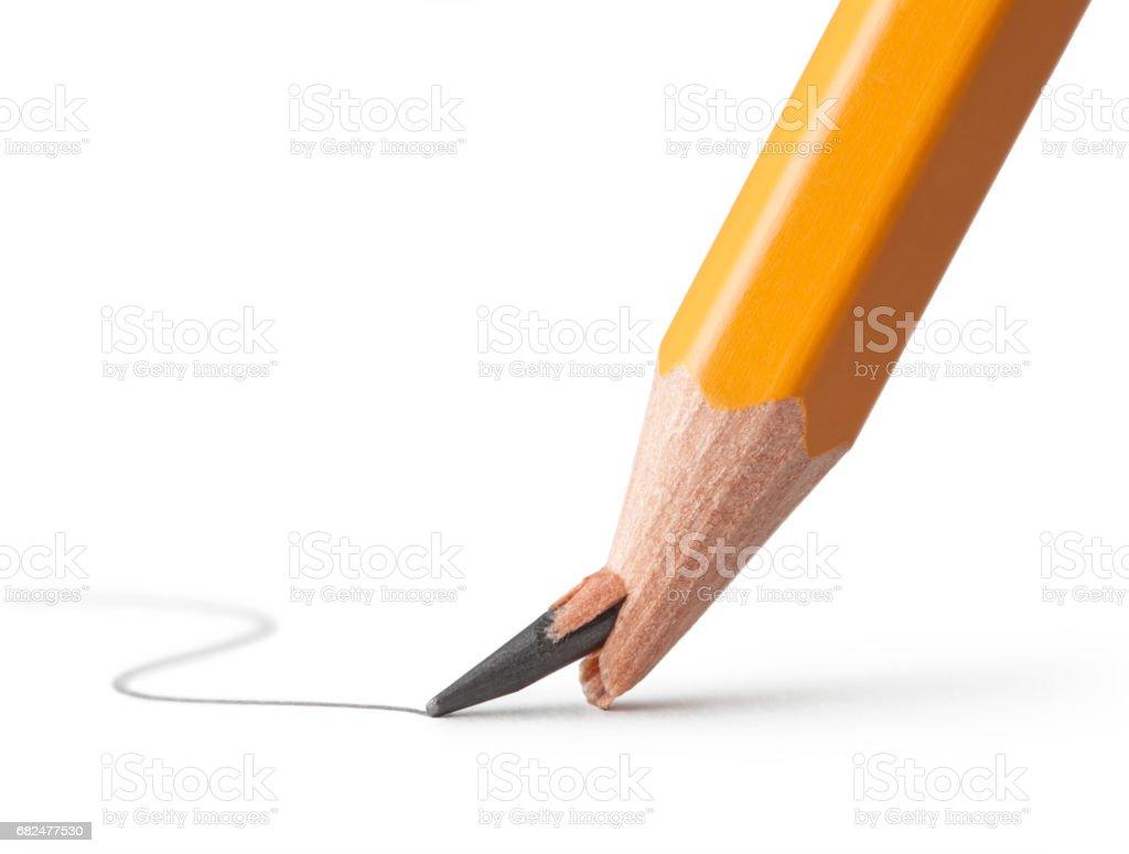 Unterbrochene Linie. Bleistift mit gebrochenen Punkt. Lizenzfreies stock-foto