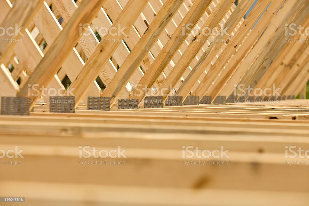 Intersecting Roof Truss Joints stock photo